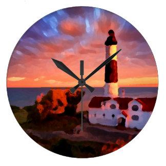 Lighthouse sunrise clock