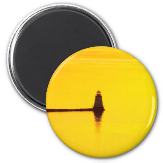 Lighthouse Sunset 2 Inch Round Magnet
