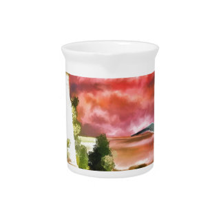 Lighthouse Sunset Beverage Pitcher