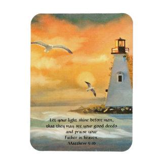 Lighthouse Sunset Bible Verse Magnet