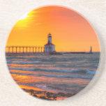 Lighthouse Sunset Drink Coaster
