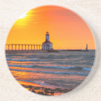 Lighthouse Sunset Drink Coaster
