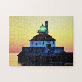 Lighthouse Sunset Duluth Minnesota Jigsaw Puzzle