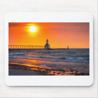 Lighthouse Sunset Mouse Pad