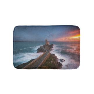 Lighthouse Sunset Plouzané | Finistère, Brittany Bathroom Mat