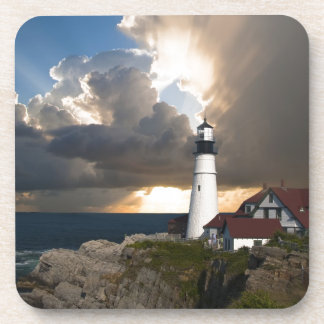 Lighthouse Sunset Portsmouth New England Drink Coasters