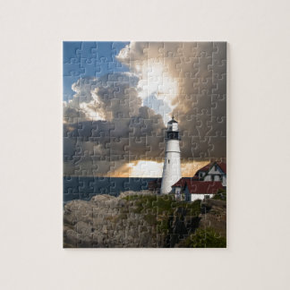 Lighthouse Sunset: Portsmouth, New England Jigsaw Puzzle