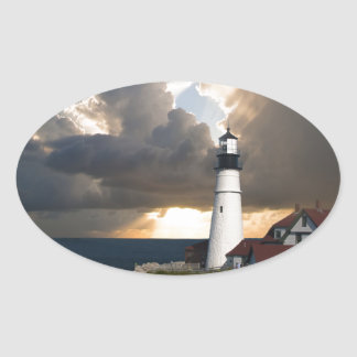 Lighthouse Sunset: Portsmouth, New England Oval Sticker