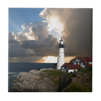 Lighthouse Sunset: Portsmouth, New England Small Square Tile