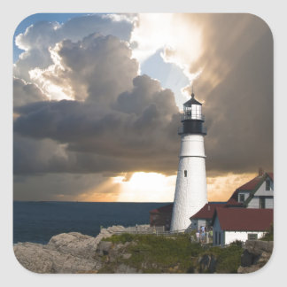 Lighthouse Sunset: Portsmouth, New England Square Sticker