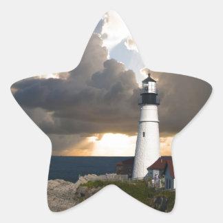 Lighthouse Sunset: Portsmouth, New England Star Sticker