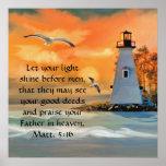 Lighthouse Sunset / Seagulls Bible Verse Poster