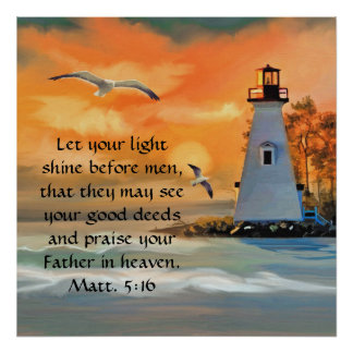 Lighthouse Sunset / Seagulls Bible Verse Poster