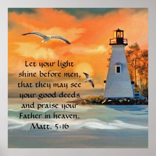 Lighthouse Sunset / Seagulls Bible Verse Poster | Zazzle