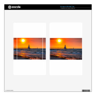 Lighthouse Sunset Skins For Kindle Fire