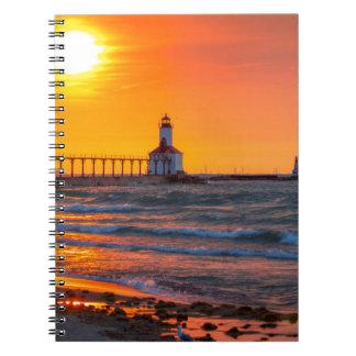 Lighthouse Sunset Spiral Notebook