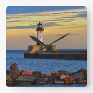 Lighthouse Sunset Square Wall Clock