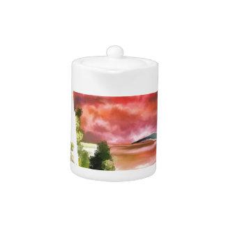 Lighthouse Sunset Teapot