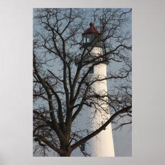 Lighthouse Through Tree Poster