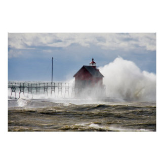 LIGHTHOUSE VS MONSTER WAVE, LAKE MICHIGAN POSTERS