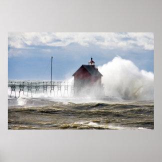 LIGHTHOUSE VS MONSTER WAVE, LAKE MICHIGAN POSTER