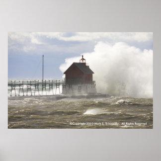 LIGHTHOUSE VS MONSTER WAVE POSTER