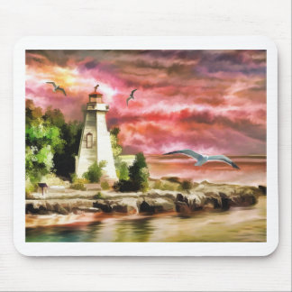 lighthouse water painting mouse pad