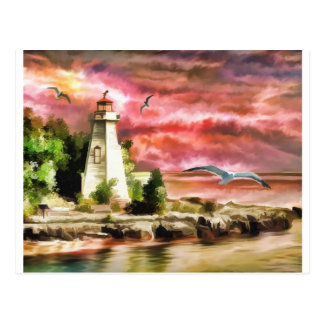 lighthouse water painting postcard