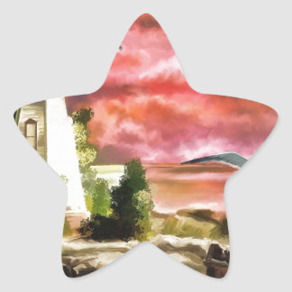 lighthouse water painting star sticker