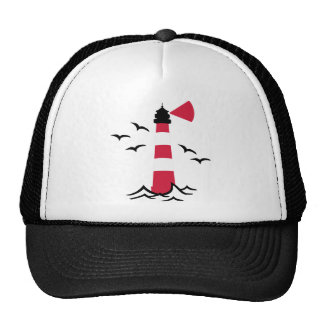 Lighthouse waves birds trucker hats
