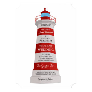 Lighthouse Wedding Invitation Red and White