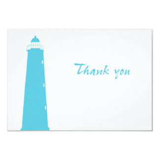 Lighthouse wedding thank-you cards personalized invite