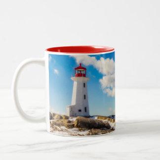 Lighthouse | Winter In Peggy'S Cove, Nova Scotia Two-Tone Coffee Mug