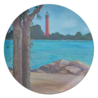 Lighthouse with Australian Pines Plate