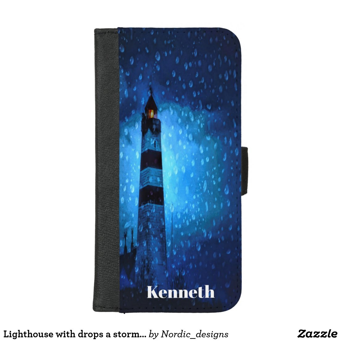 Lighthouse with drops a stormy night add name iPhone 8/7 plus wallet case