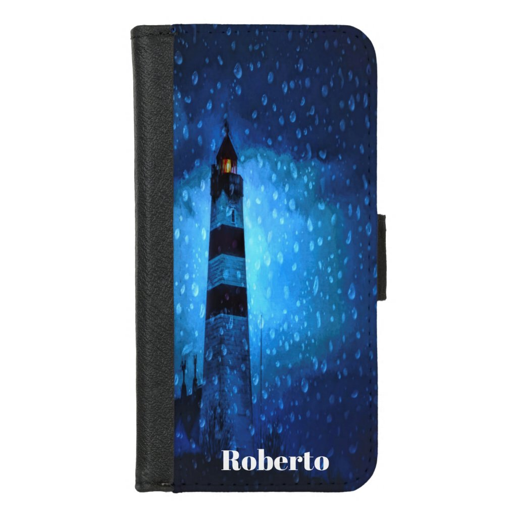 Lighthouse with drops a stormy night add name iPhone 8/7 wallet case