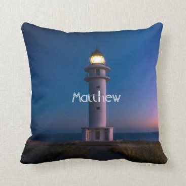 Beach Themed Lighthouse with monogram throw pillow