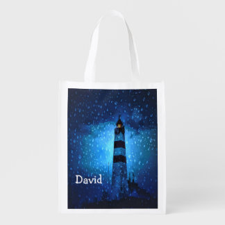 Lighthouse with raindrops a stormy night add name grocery bag