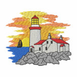 Lighthouse with Sailboat Embroidered Polo Shirts