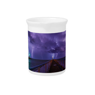 Lighthouses in a Thunderstorm with Purple Rain Beverage Pitcher