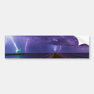 Lighthouses in a Thunderstorm with Purple Rain Bumper Sticker