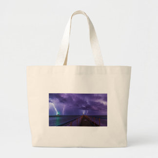 Lighthouses in a Thunderstorm with Purple Rain Large Tote Bag
