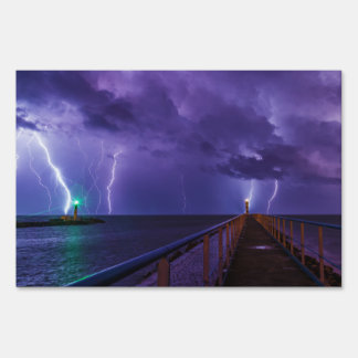 Lighthouses in a Thunderstorm with Purple Rain Lawn Sign