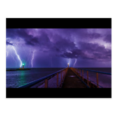 Lighthouses In A Thunderstorm With Purple Rain Postcard at Zazzle