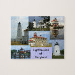 """Lighthouses of Maryland Jigsaw Puzzle<br><div class=""""desc"""">Cove Point,  Piney Point,  Drum Point,  and Lookout Point lighthouses in Maryland.</div>"""