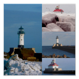 Lighthouses on Lake Superior Poster