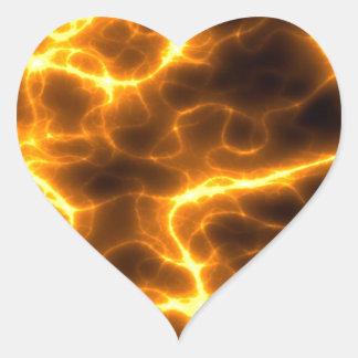 Lighting Bolt Flames Design Heart Sticker
