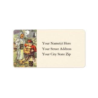 Lighting the Jack O Lantern Vintage Address Label