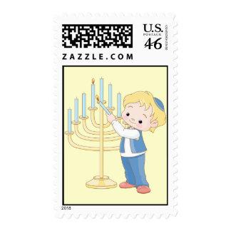 Lighting The Menorah Stamp