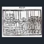 "Lighting the Menorah Postcard<br><div class=""desc"">Jewish School's Lighting the Menorah (woodcut) located at a Private Collection.</div>"